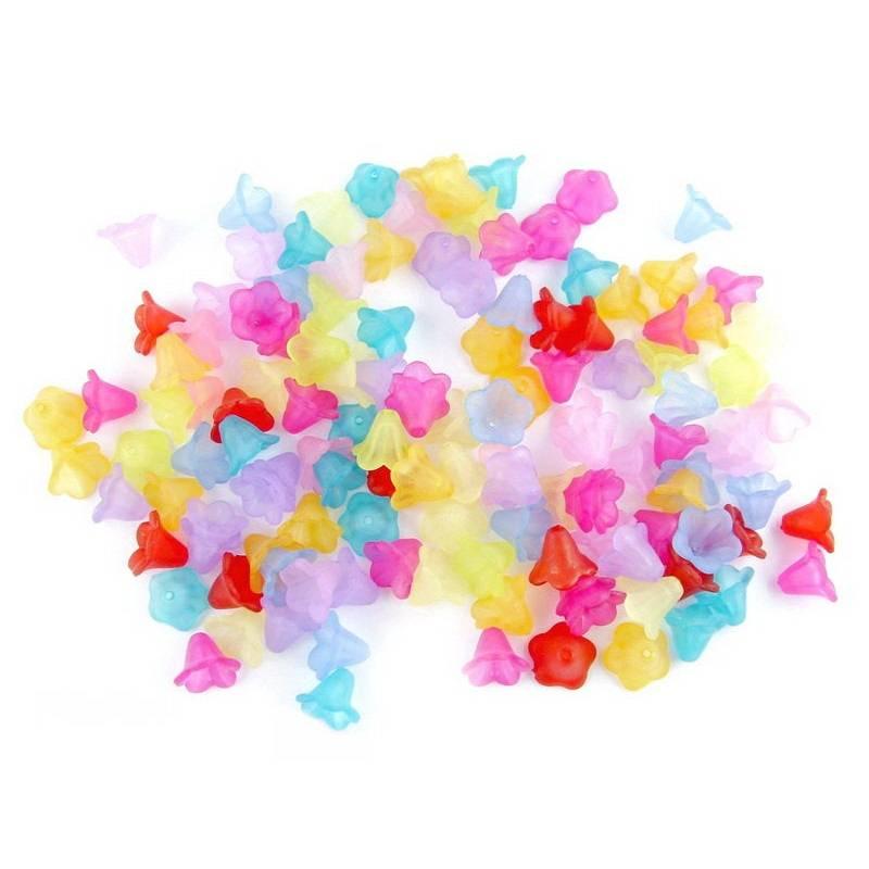 20 Blumenperlen Glockenblumen lucite 14 x 10 mm - Farbwahl Bild 1