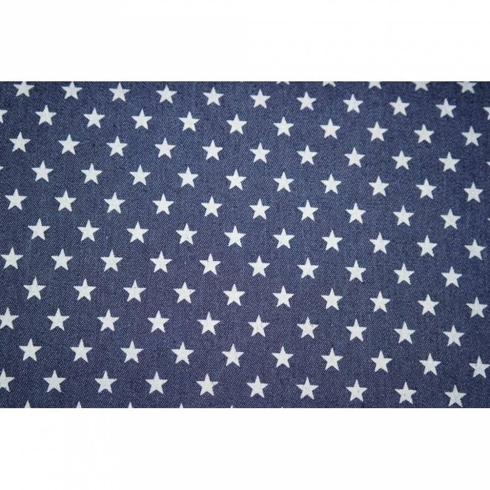 12,60 Euro/m Blusenjeans denim dunkelblau mit Sternen Selena, Bild 1