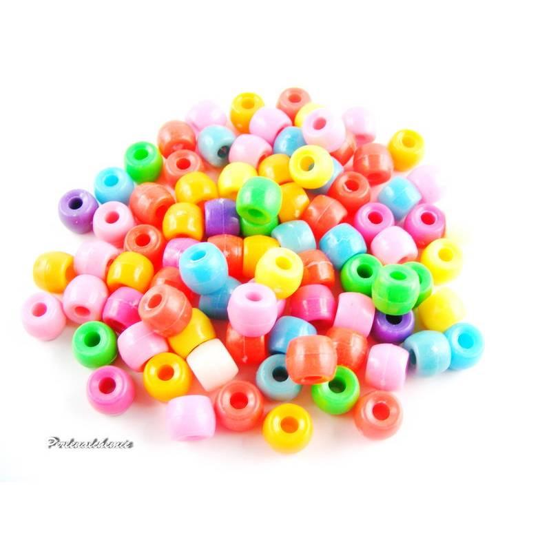 300 Perlen Pony opak glänzend 10 x 8 mm Mix Bild 1
