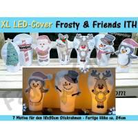 XL LED Kerzen-Cover Frosty & Friends 18x30 Rahmen Bild 1