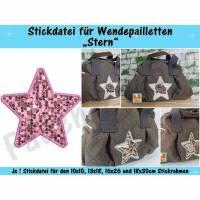 Wendepailletten-Applikation Stern - Stickdatei-Set für den 10x10cm bis 18x30cm Rahmen Bild 1
