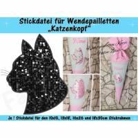 Wendepailletten-Applikation Katzenkopf - Stickdatei-Set für den 10x10cm bis 18x30cm Rahmen Bild 1