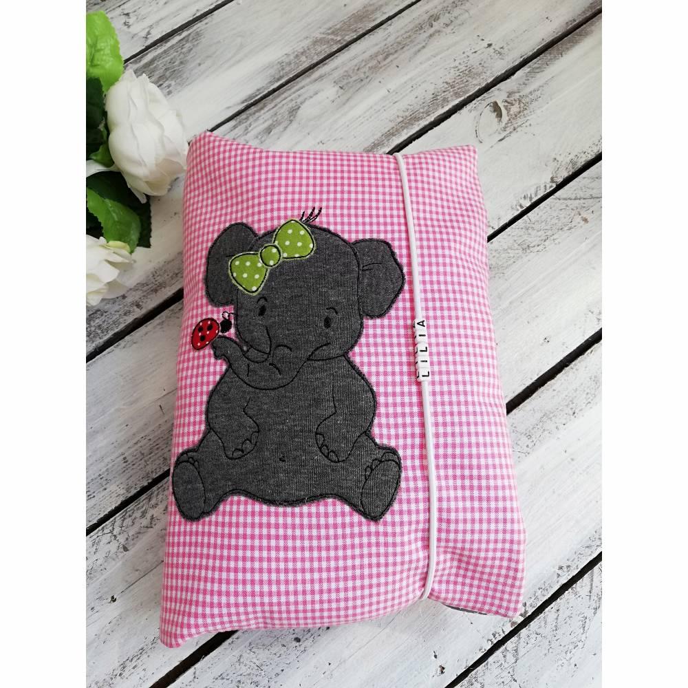 Windeltasche Wickeltasche XXL Elefant mit Namen grau-rosa Bild 1