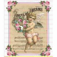 Bügelbilder VintageEngel Angel Rosen Blumen DIN A4 NO. 1168 Transfer Bild 1
