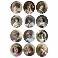 Bügelbild, runde Bügelbilder, Bügelfolie, Motivbogen No 13, für deine eigenen Werke im Shabby / Vintage Stil Bild 1