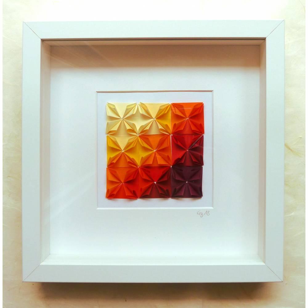 Origami-Rosetten Farbverlauf // 3D-Bild aus Origami im Objektrahmen Bild 1