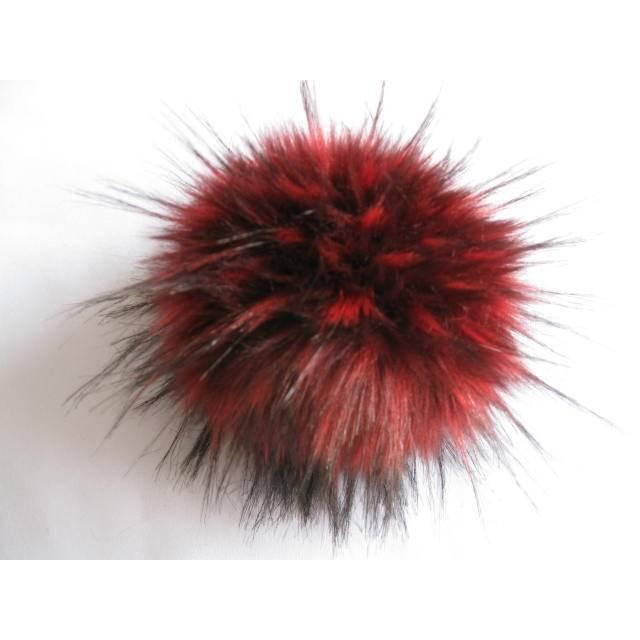 Wechselbommel Kunstfell Bommel Pompon mit Druckknopf -  Marderhund Schwarz/Rot Bild 1