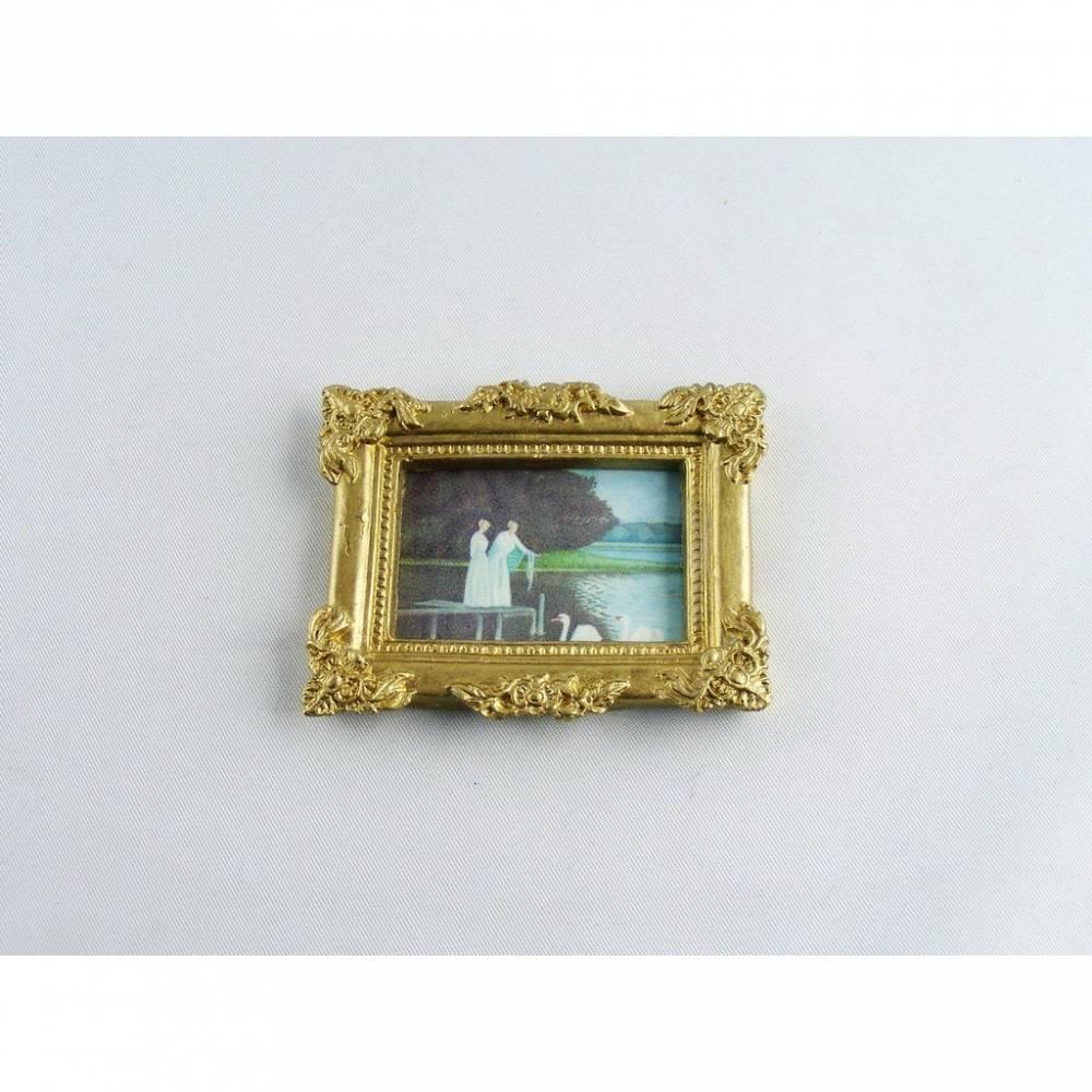 Miniaturen Puppenhaus Bild Schwanenteich mit Rahmen Bild 1
