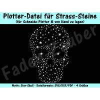 """Strass-Vorlage """"Star-Skull"""" für Plotter & von Hand Bild 1"""