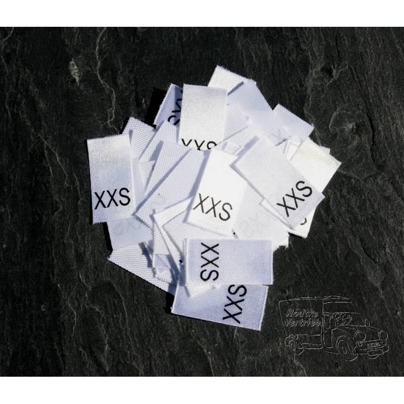 25 Größenetiketten in verschiedenen Ausführungen von Größe XXS bis XXXL auf Polyesterband Bild 1