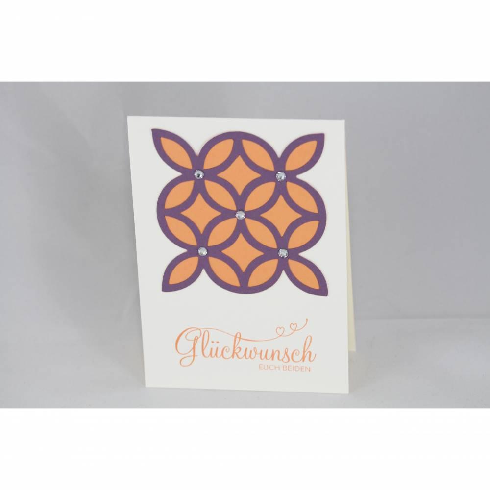 Glückwunschkarte zur Hochzeit in violett und orange Bild 1