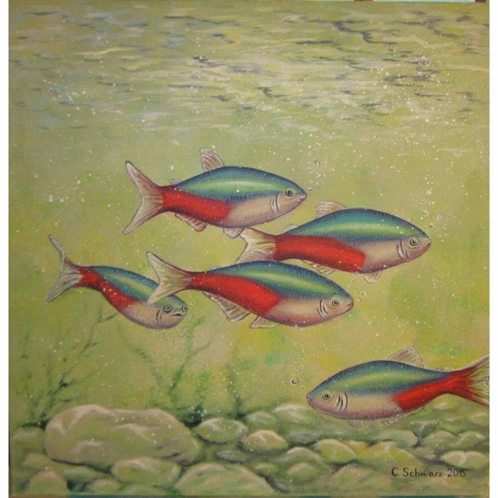 Acrylgemälde NEONSALMLER 50cm breit und 50cm hoch - gemalte Fische, Original Leinwandbild Kunst Bild 1