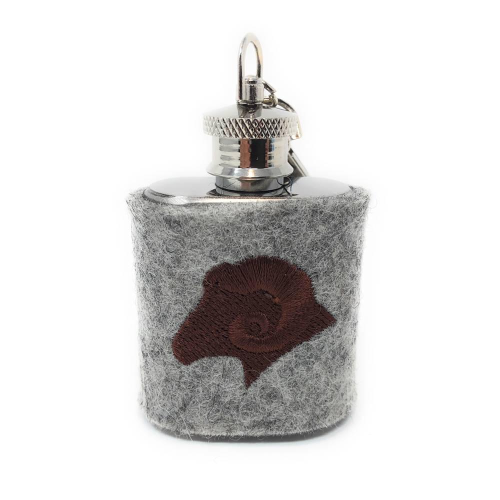 Mini Flachmann Edelstahl 30 ml + Hülle bestickt mit Widder aus Wollfilz - Farbauswahl Bild 1