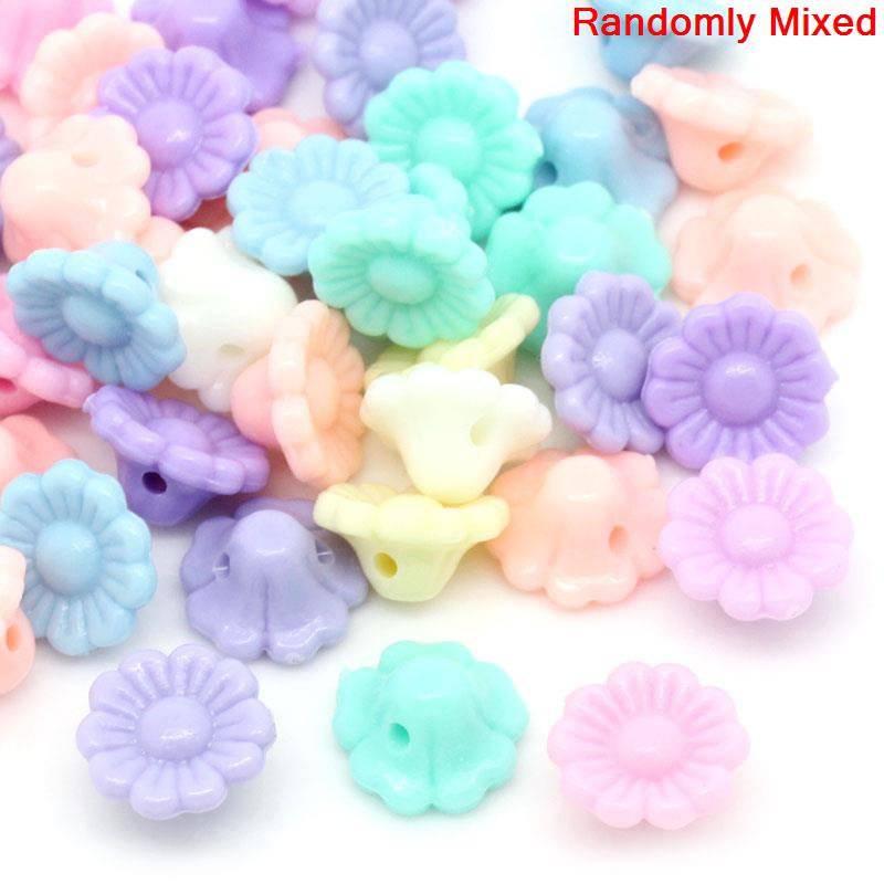 Perlen Blümchen pastellfarben 12 mm 100 Stück Bild 1