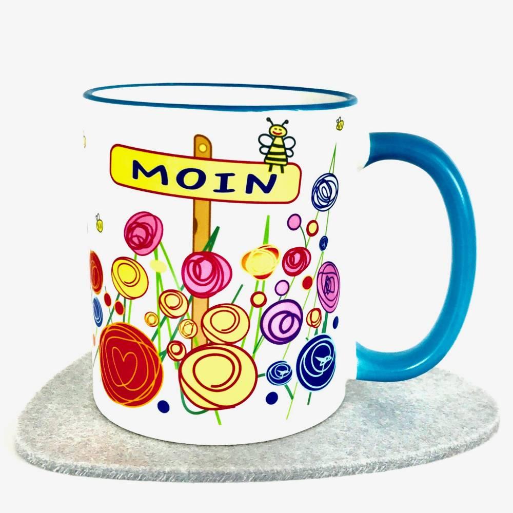 Tasse Moin, Geschenk für Nordsee-Fan, 2/3 Teile, Kaffee-Becher blau, Motiv Blumen Bild 1