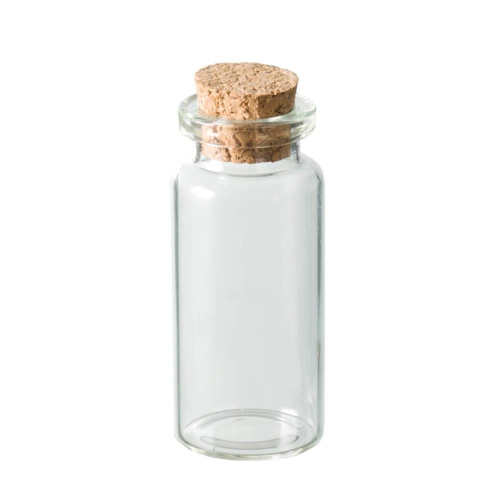 Flasche mit Korken Miniflasche Minifläschchen Glasflasche Glasfläschchen Bild 1