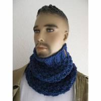 Schlupfschal Schlauchschal für Männer Uni Jeansblau Bild 1
