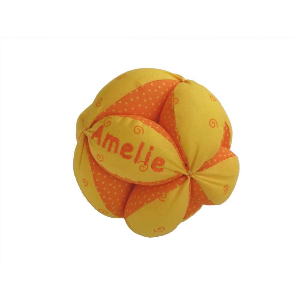 personalisierter Greifball mit Rassel, gelb Bild 1
