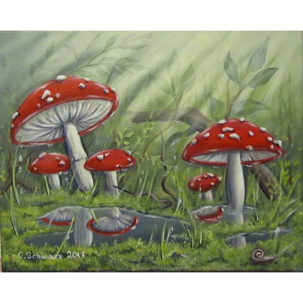 "Acrylgemälde ""Fliegenpilze nach dem Regen"" - Kunst Wandbild Pilze Natur Bild Deko gemalt 50cmx40cm Bild 1"