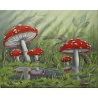 "Acrylgemälde ""Fliegenpilze nach dem Regen"" - Kunst Wandbild Pilze Natur Bild Deko gemalt 50cmx40cm"