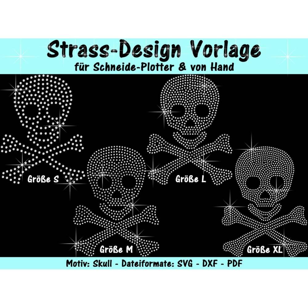 """Strass-Vorlage """"Skull"""" - für Plotter & von Hand Bild 1"""