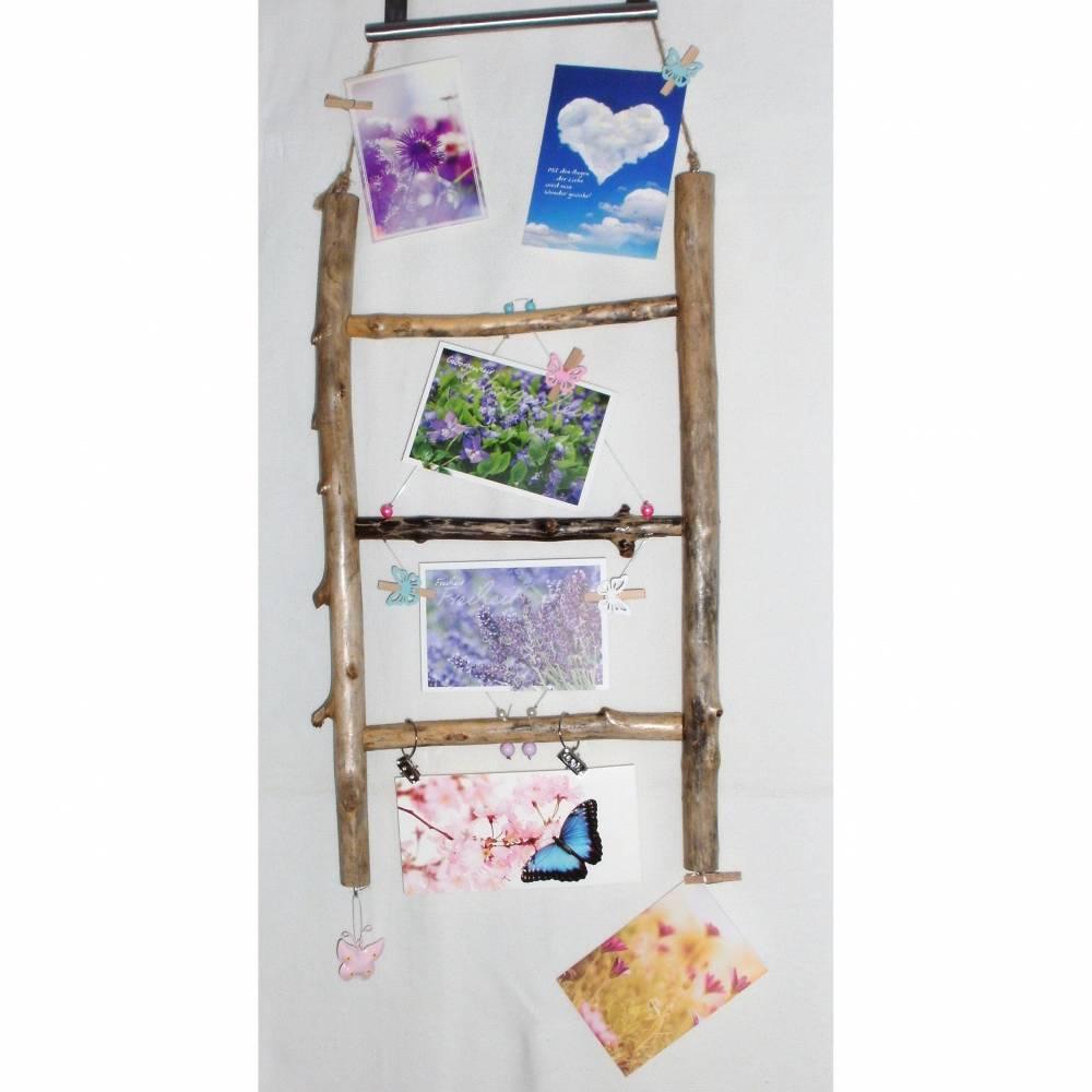 Treibholz Wanddeko Postkartenleiter Memoboard Kartenhalter Holz Kartenleiter Holzdeko Fotowand Fotogeschenk Pinnwand Fotoleiter nachhaltig  Bild 1
