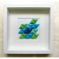 Grün-blaue Tetraeder // 3D-Bild aus Origami im Objektrahmen Bild 1