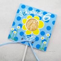Kindergeburtstag Geburtstag Lolli-Einladung Blümchen blau Bild 1