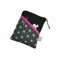 eReadertasche eBook Reader Tablet Tasche Hexagon schwarz weiß, personalisierbar, Maßanfertigung bis max. 10,9 Zoll, z.B. für Tolino Vision 5 Kindle Paperwhite Sony PRS T3 Bild 1