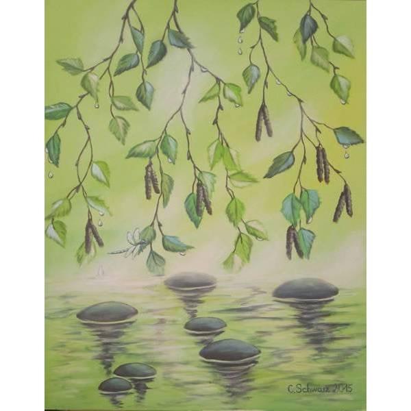 "Acrylgemälde ""Birkenblätter"" - Kunst Natur Bild Kunstwerk Acryl Original Birke Blätter 40cmx50cm Bild 1"