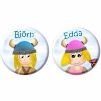 Button Wikinger, Wikingerin, personalisiert, Wunschtext, Wunschnamen, Kindergeburtstag Gastgeschenk Mitgebsel Bild 1
