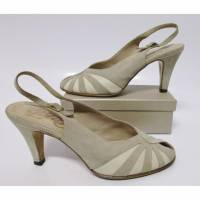True Vintage Pumps Peep toe Peko Größe 41 Beige Nude Wildleder Leder Schuhe Tanzschuhe Sandaletten Bild 1