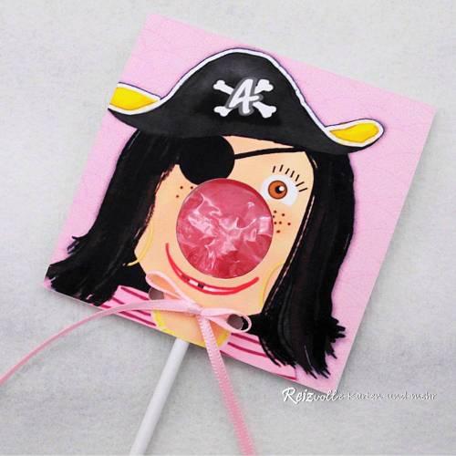 Kindergeburtstag Geburtstag Lolli-Einladung Piratin