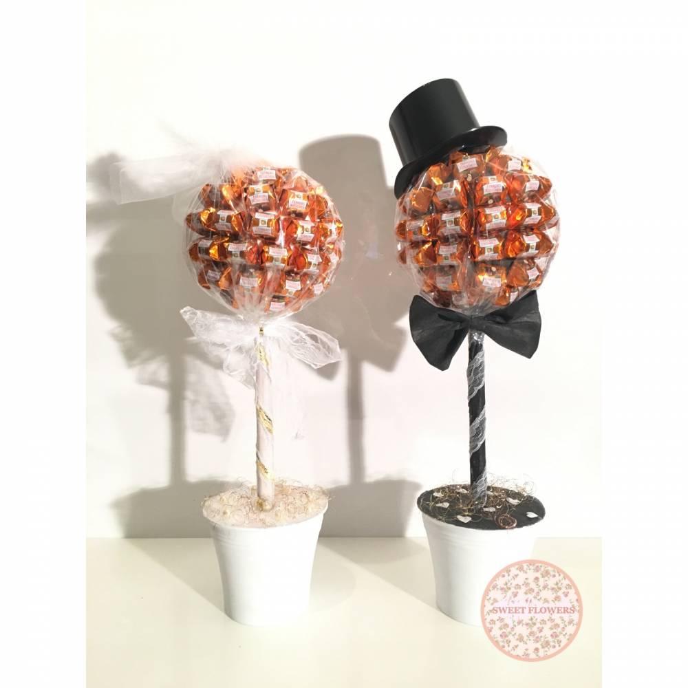 Ferrero Küsschen Pralinen Hochzeitsbäume im Set Braut und Bräutigam Größe 2 Geschenk Bild 1