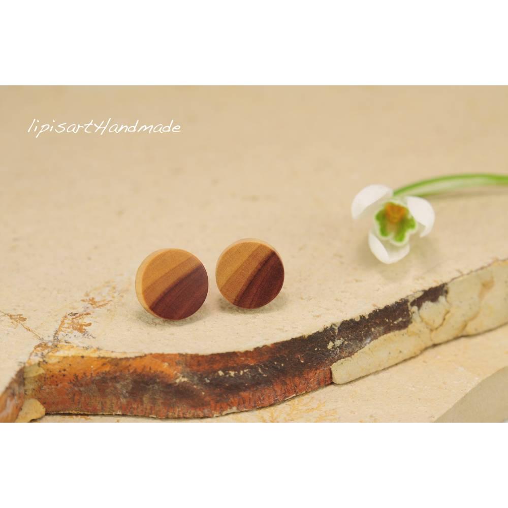 Holzohrstecker – Apfel Holz Scheibe ∅ 9 mm gedrechselt Ohrstecker 925 Silber Bild 1