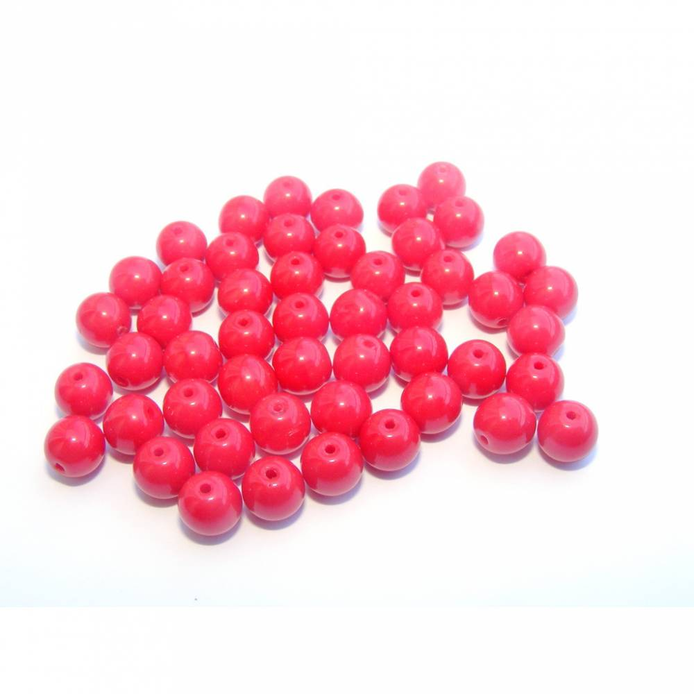 Glasperlen rund 6 mm - rot opak Bild 1