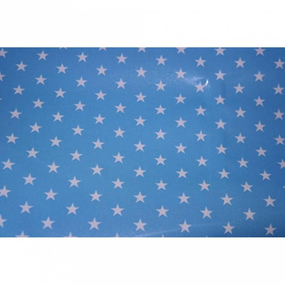 14,50 Euro/m Laminierte Baumwolle Sterne hellblau Bild 1
