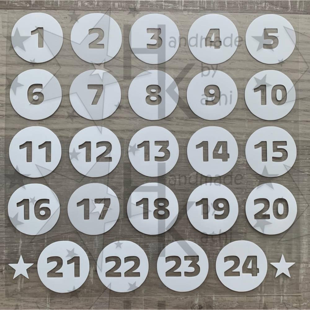 Bügelbild - Kreise / Punkte & Zahlen zum Aufbügeln - Adventskalender aus Stoff basteln - viele mögliche Farben Bild 1