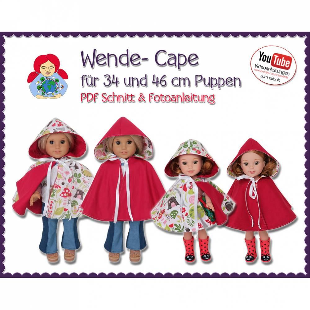 Wende Cape Umhang für 34 und 46 cm Puppen wie Wellie Wishers und American Girl • Schnitt & Anleitung PDF | Sami Dolls eBooks Bild 1