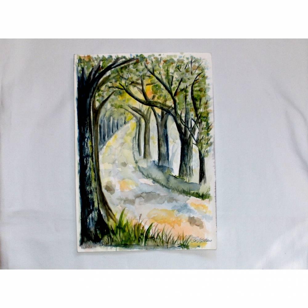 Original Aquarell Bild Sonniger Waldweg Gemälde Natur Wald Bäume Sommer Frühling Sonne Aquarellbild Wanddeko  Bild 1