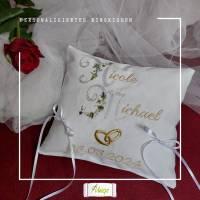 ✂ Ringkissen mit Namen und Datum, Stickerei, Hochzeit, Ringe,  romantisch weiß, gold, silber Bild 1
