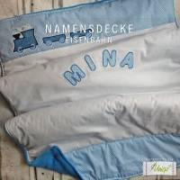 Babydecke mit Eisenbahn und Namen, hellblau, Geschenk, Geburt, Taufe, Namensdecke, Kinderdecke, Decke Bild 2