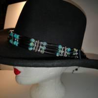 Hutband im Western- und Country-Stil, ausgefallene, seltene Howlithperlen (HB 13) Bild 1