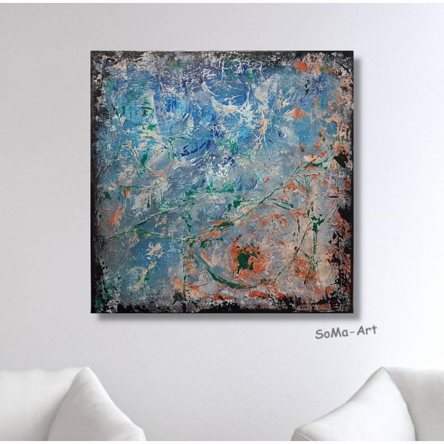 Original handgemaltes Acrylbild mit tiefer Struktur in Blau,Grün und Terracotta auf Leinwand, Wanddekoration, Kunst  Bild 1