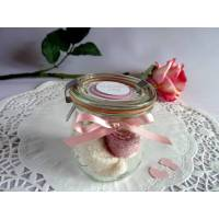 Babysöckchen / Erstlingssöckchen in rosa/weiß im Glas  Bild 1