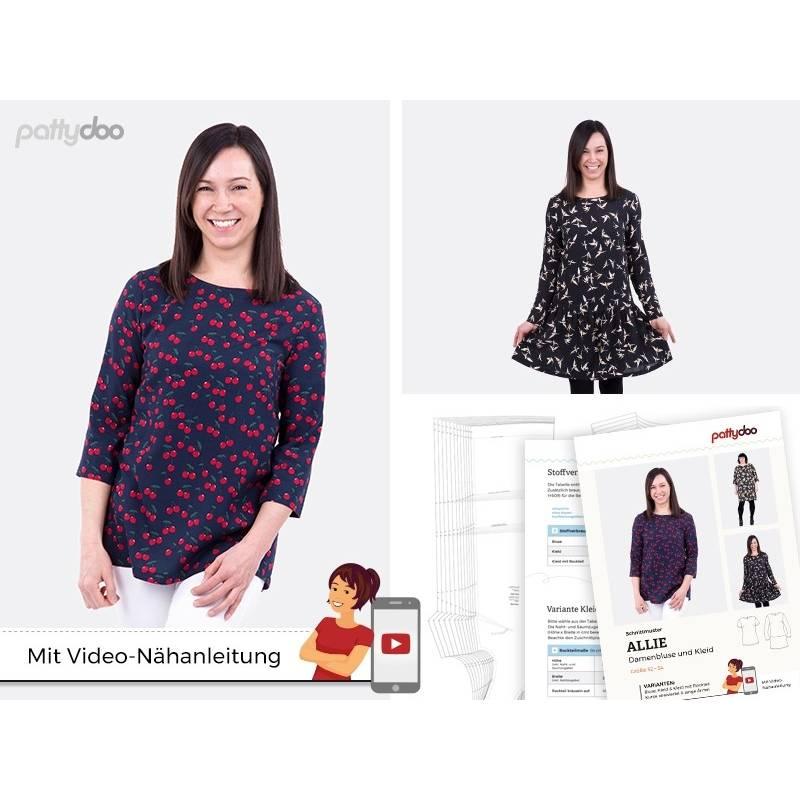 Schnittmuster,Papierschnittmuster, Allie Damen Bluse + Kleid  by pattydoo Gr 32- 54 (1 Stück/9,- €) Bild 1