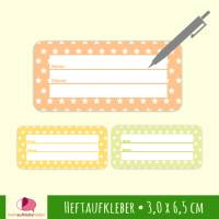 24 Heftaufkleber | Kleine Sternchen orange-gelb-grün - Schulaufkleber zum selbstbeschriften - 3,0 x 6,5 cm Bild 1