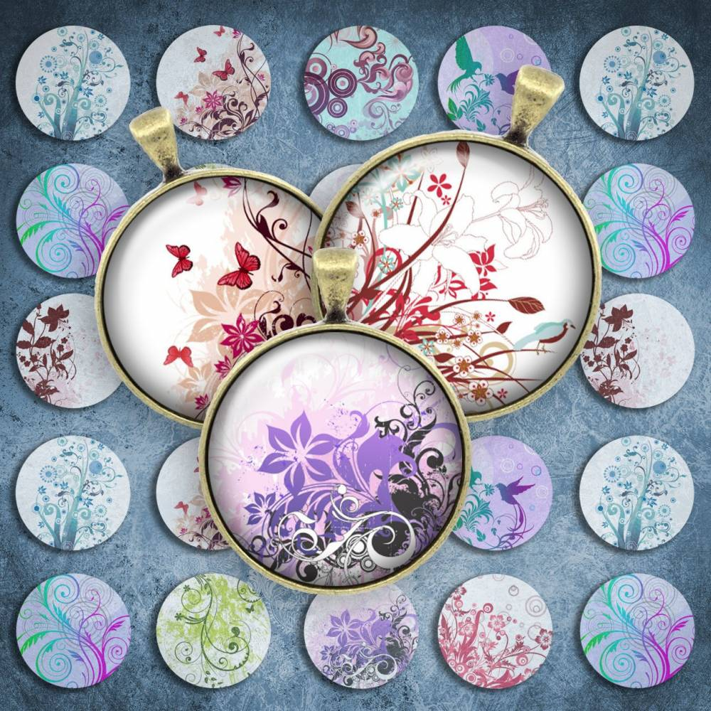 166 - Cabochon Vorlagen, 25mm 18mm 14mm 12mm, rund, Cabochon Motive, Bottle Cap images floral Blätter Bild 1