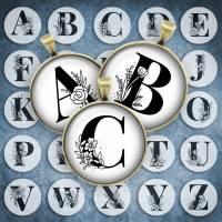 209 - Cabochon Vorlagen, 25mm 18mm 14mm 12mm, rund, Cabochon Motive, Bottle Cap images Buchstaben Alphabet Initialien