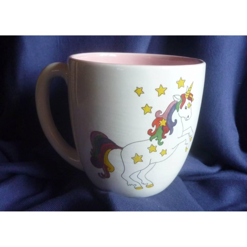 Mega große Tasse mit  Einhorn,Sterne,Glitzer,Kaffeetasse Kaffeebecher,Teetasse,Frühstück,Mädchen Bild 1